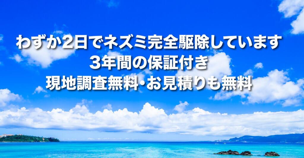 三鷹市・武蔵野市・狛江市など23区外のネズミ駆除。2日間で完全駆除・駆除後3年間保証