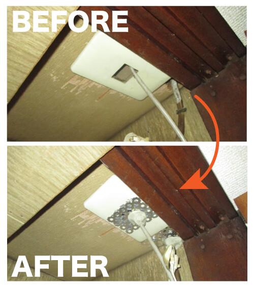 ネズミ駆除作業事例5 天井の開口部