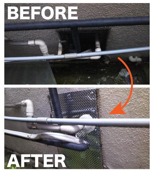 ネズミ駆除作業事例1 基礎部配管穴